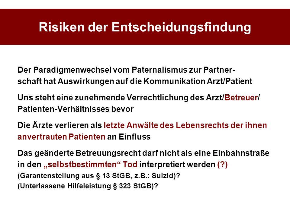 Risiken der Entscheidungsfindung Der Paradigmenwechsel vom Paternalismus zur Partner- schaft hat Auswirkungen auf die Kommunikation Arzt/Patient Uns s