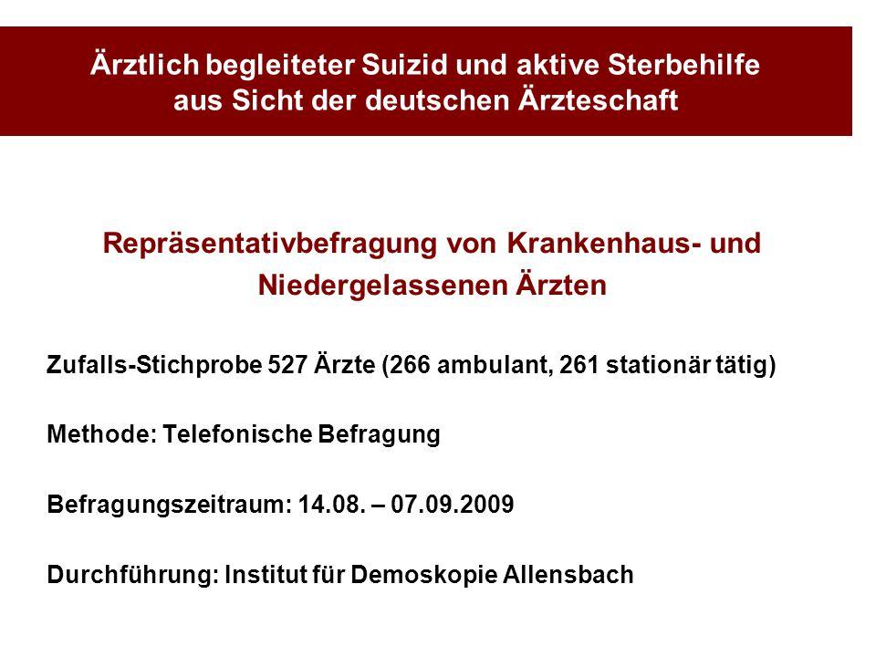 Ärztlich begleiteter Suizid und aktive Sterbehilfe aus Sicht der deutschen Ärzteschaft Repräsentativbefragung von Krankenhaus- und Niedergelassenen Är