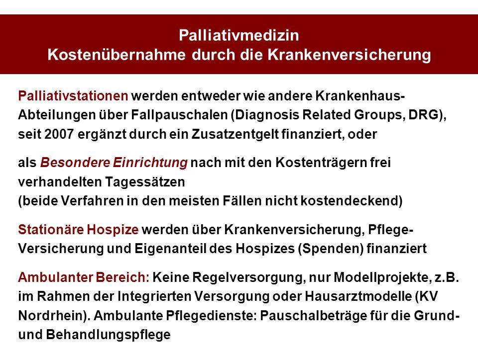 Palliativmedizin Kostenübernahme durch die Krankenversicherung Palliativstationen werden entweder wie andere Krankenhaus- Abteilungen über Fallpauscha