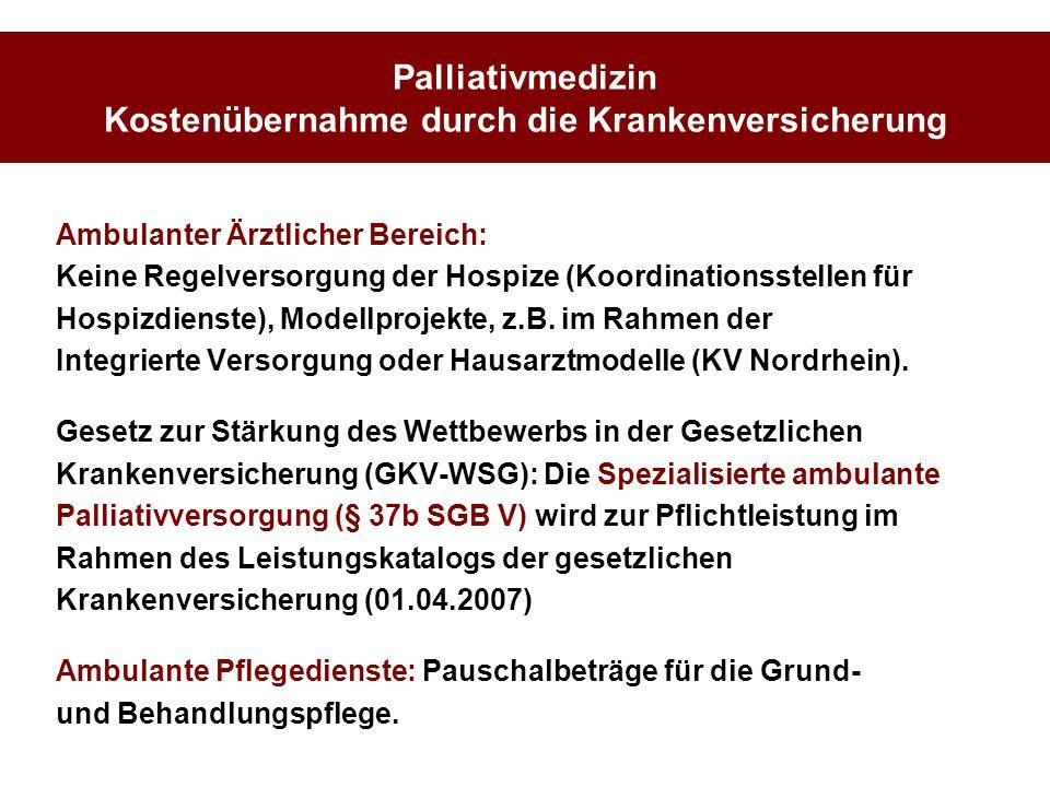 Palliativmedizin Kostenübernahme durch die Krankenversicherung Ambulanter Ärztlicher Bereich: Keine Regelversorgung der Hospize (Koordinationsstellen