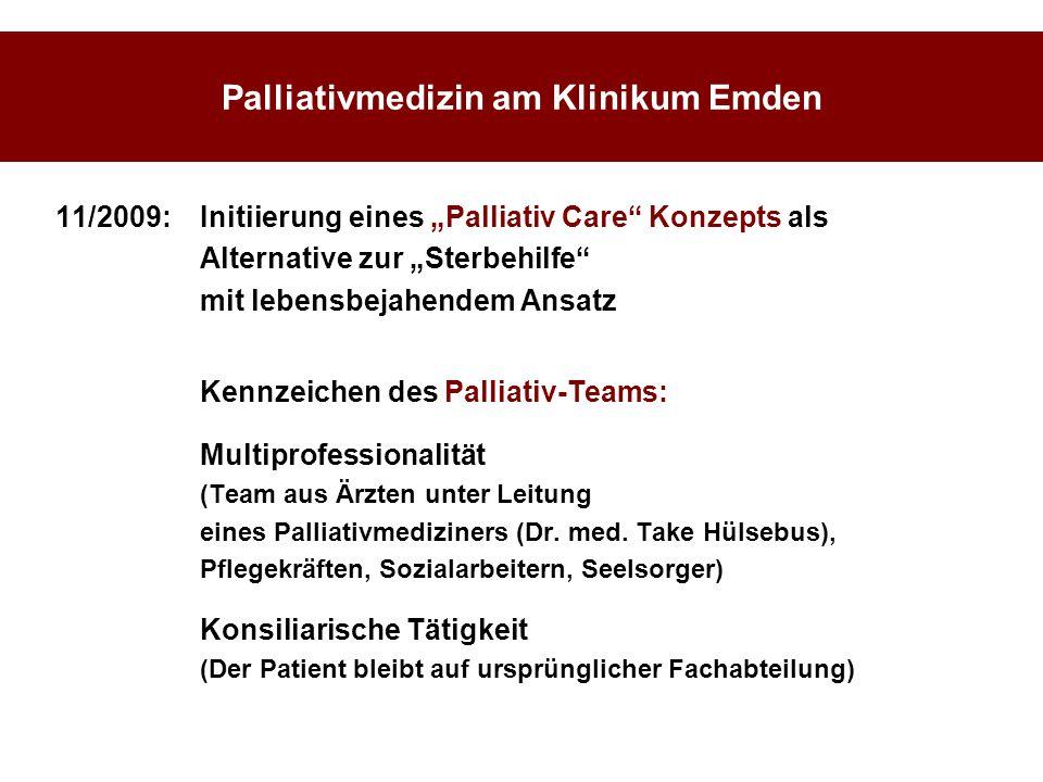 """Palliativmedizin am Klinikum Emden 11/2009:Initiierung eines """"Palliativ Care"""" Konzepts als Alternative zur """"Sterbehilfe"""" mit lebensbejahendem Ansatz K"""