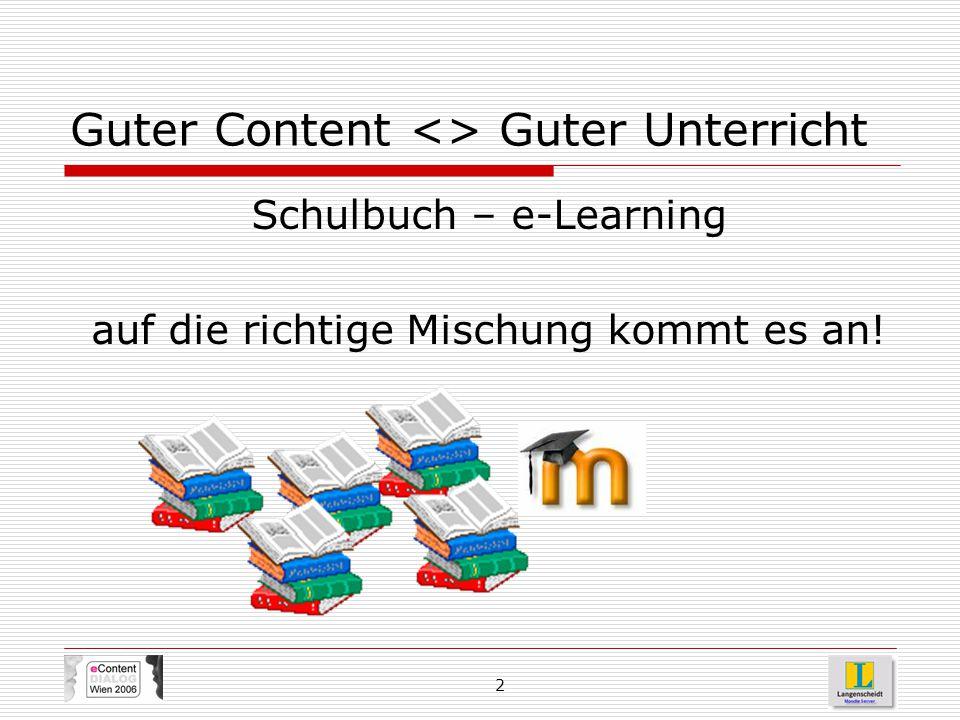 2 Guter Content <> Guter Unterricht Schulbuch – e-Learning auf die richtige Mischung kommt es an!
