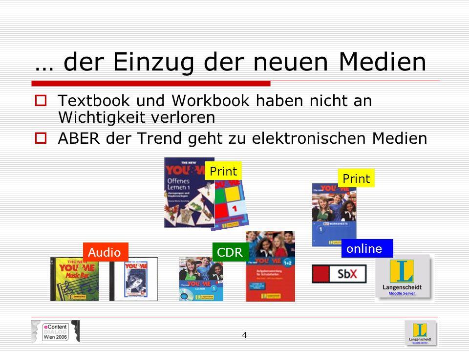 4 … der Einzug der neuen Medien  Textbook und Workbook haben nicht an Wichtigkeit verloren  ABER der Trend geht zu elektronischen Medien AudioCDR on