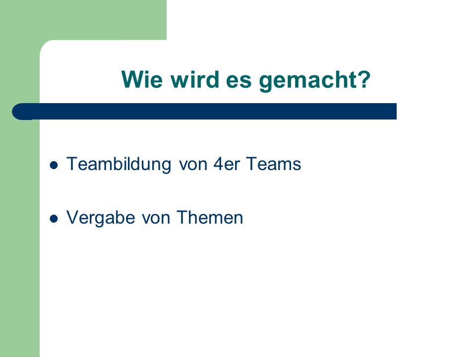 Wie wird es gemacht Teambildung von 4er Teams Vergabe von Themen