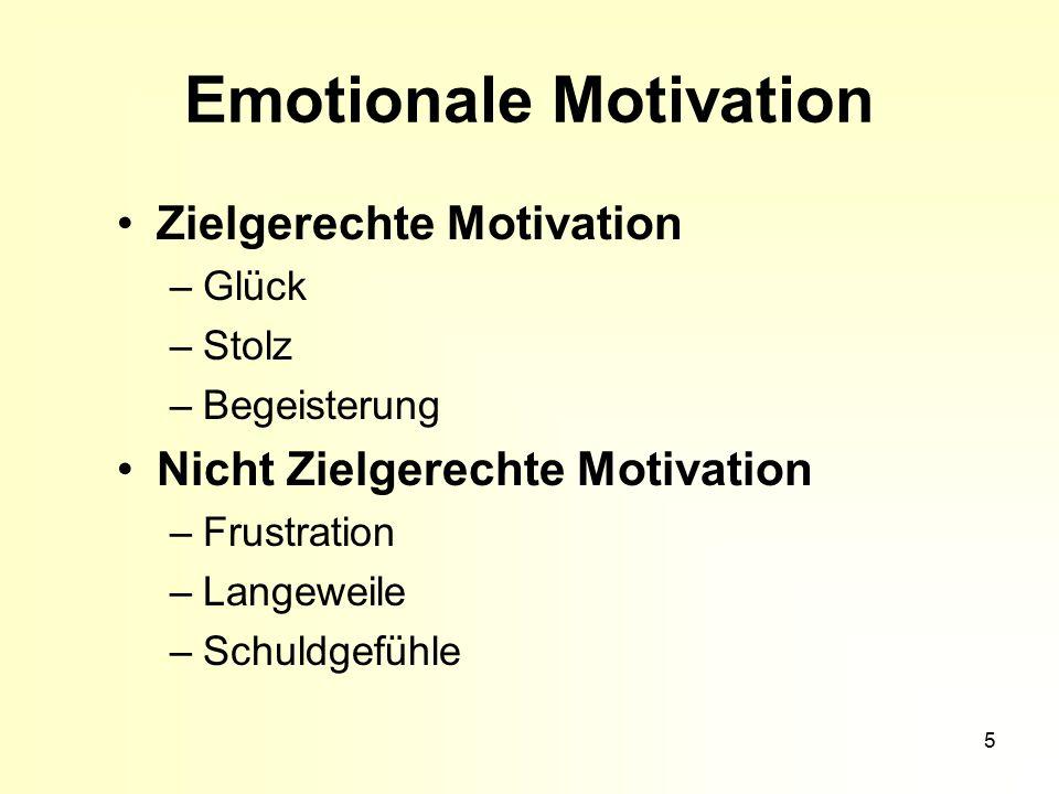 5 Emotionale Motivation Zielgerechte Motivation –Glück –Stolz –Begeisterung Nicht Zielgerechte Motivation –Frustration –Langeweile –Schuldgefühle