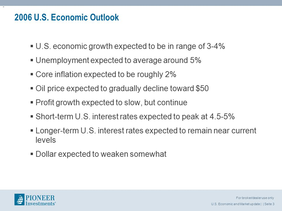 U.S. Economic and Market update | | Seite 3 For broker/dealer use only 2006 U.S.
