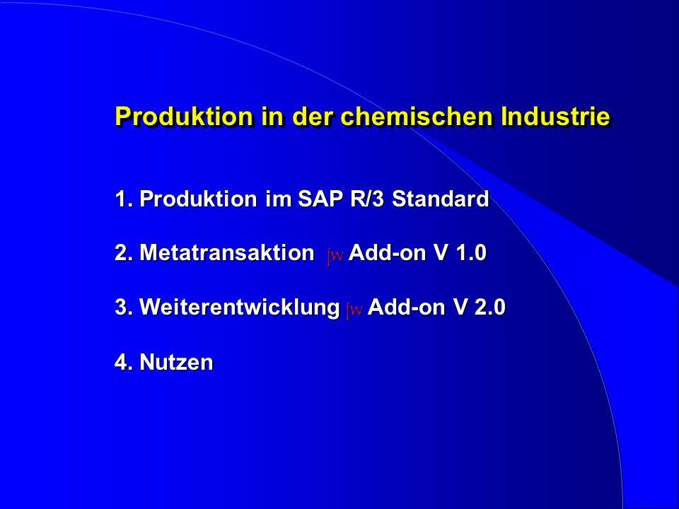 Produktion in der chemischen Industrie 1. Produktion im SAP R/3 Standard 2.