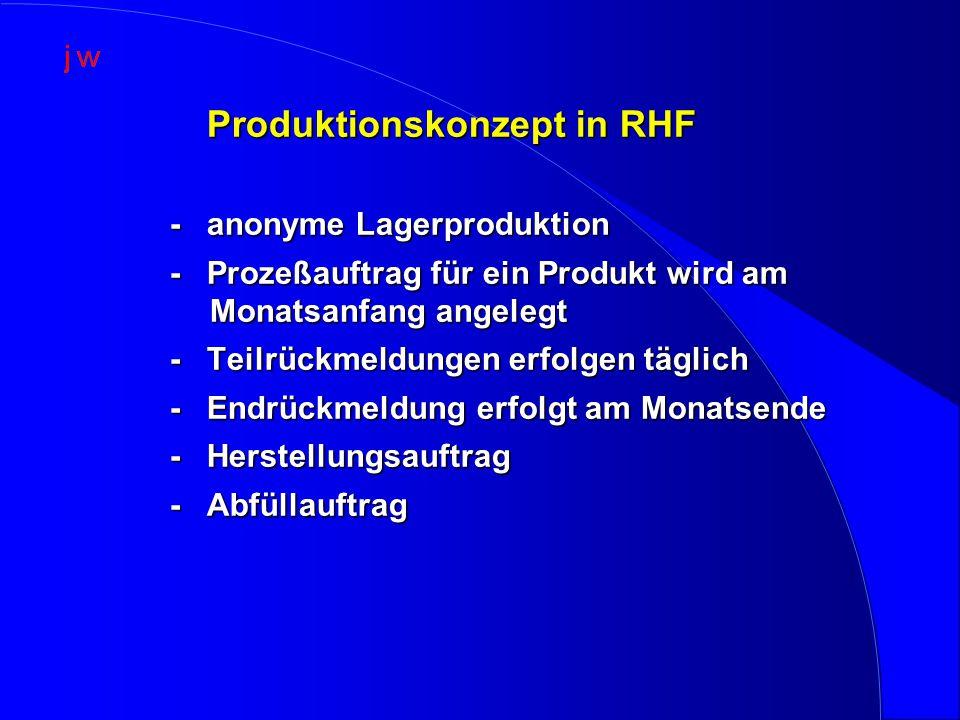 Produktionskonzept in RHF Produktionskonzept in RHF - anonyme Lagerproduktion - Prozeßauftrag für ein Produkt wird am Monatsanfang angelegt - Teilrückmeldungen erfolgen täglich - Endrückmeldung erfolgt am Monatsende - Herstellungsauftrag - Abfüllauftrag