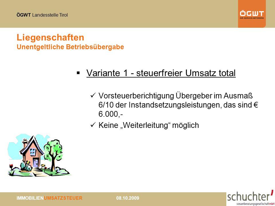 ÖGWT Landesstelle Tirol IMMOBILIENUMSATZSTEUER 08.10.2009 Liegenschaften Unentgeltliche Betriebsübergabe  Variante 1 - steuerfreier Umsatz total Vors