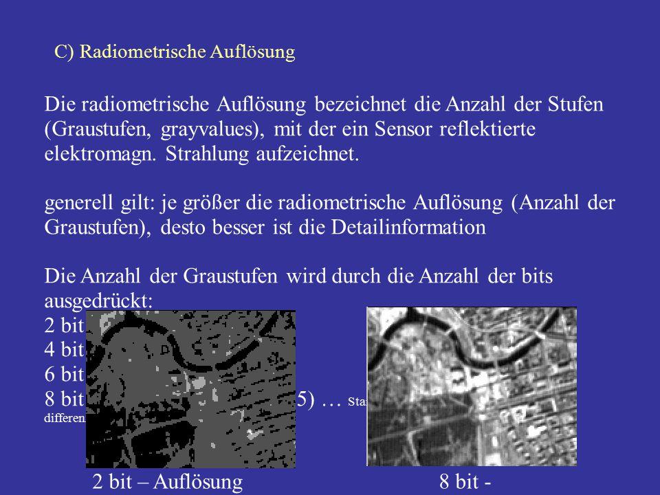 C) Radiometrische Auflösung Die radiometrische Auflösung bezeichnet die Anzahl der Stufen (Graustufen, grayvalues), mit der ein Sensor reflektierte el