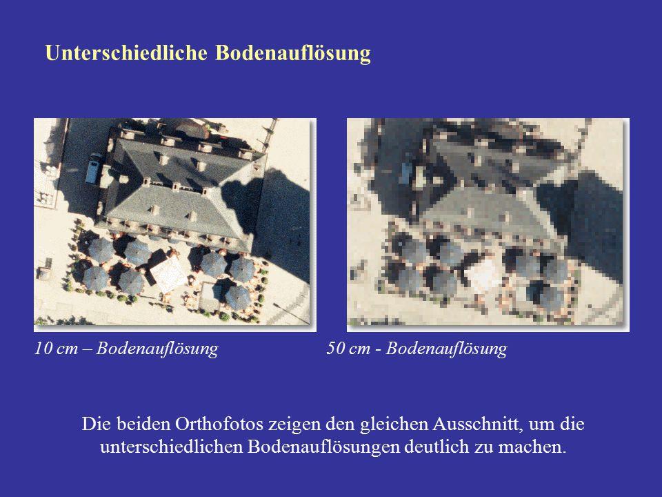 Die beiden Orthofotos zeigen den gleichen Ausschnitt, um die unterschiedlichen Bodenauflösungen deutlich zu machen. Unterschiedliche Bodenauflösung 10