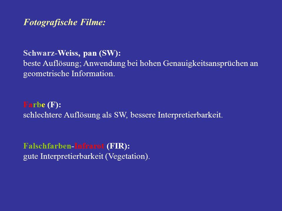 Fotografische Filme: Schwarz-Weiss, pan (SW): beste Auflösung; Anwendung bei hohen Genauigkeitsansprüchen an geometrische Information. Farbe (F): schl