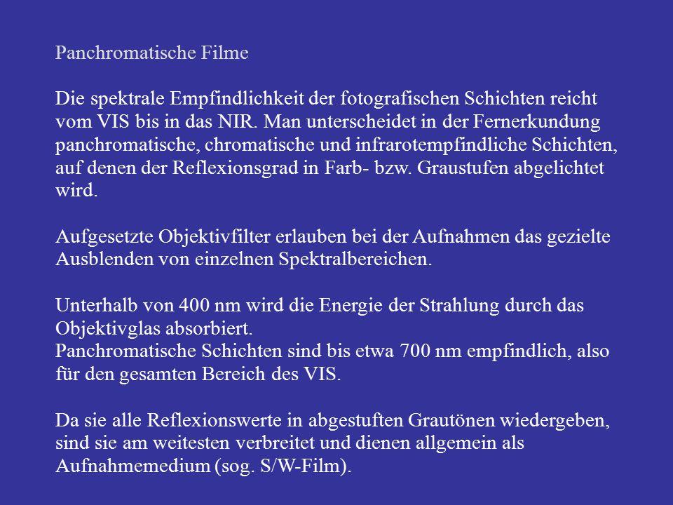 Panchromatische Filme Die spektrale Empfindlichkeit der fotografischen Schichten reicht vom VIS bis in das NIR. Man unterscheidet in der Fernerkundung