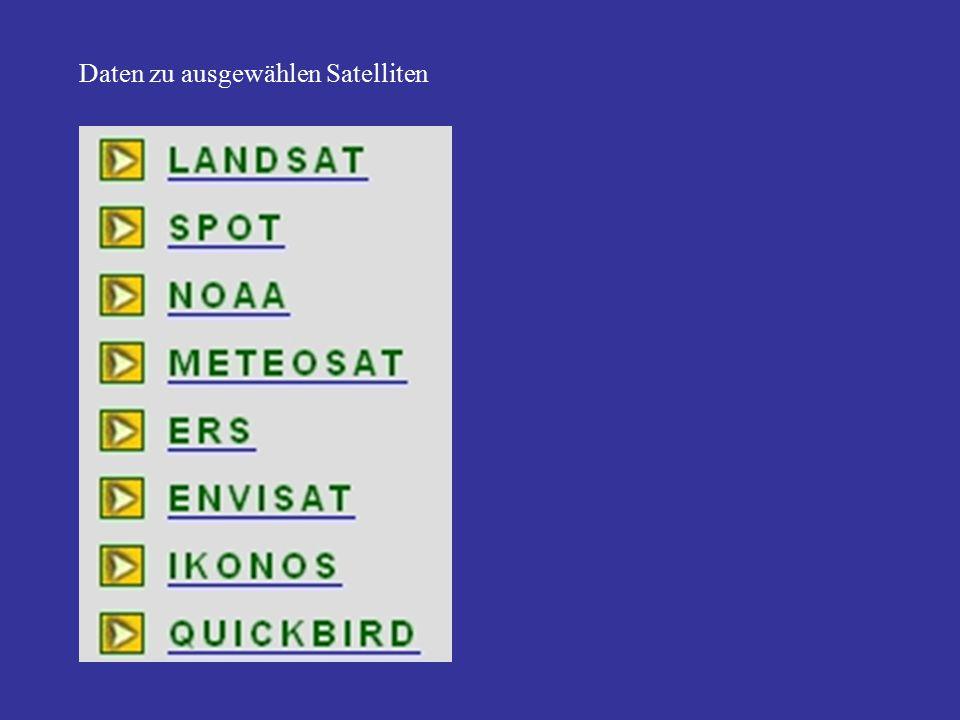 Daten zu ausgewählen Satelliten