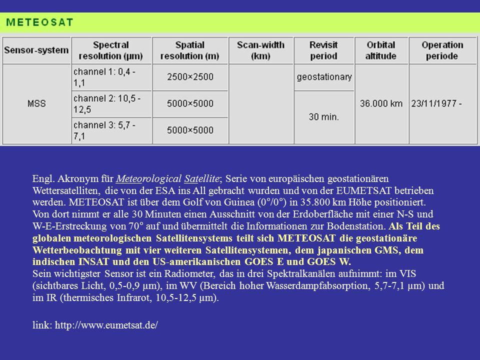 Engl. Akronym für Meteorological Satellite; Serie von europäischen geostationären Wettersatelliten, die von der ESA ins All gebracht wurden und von de