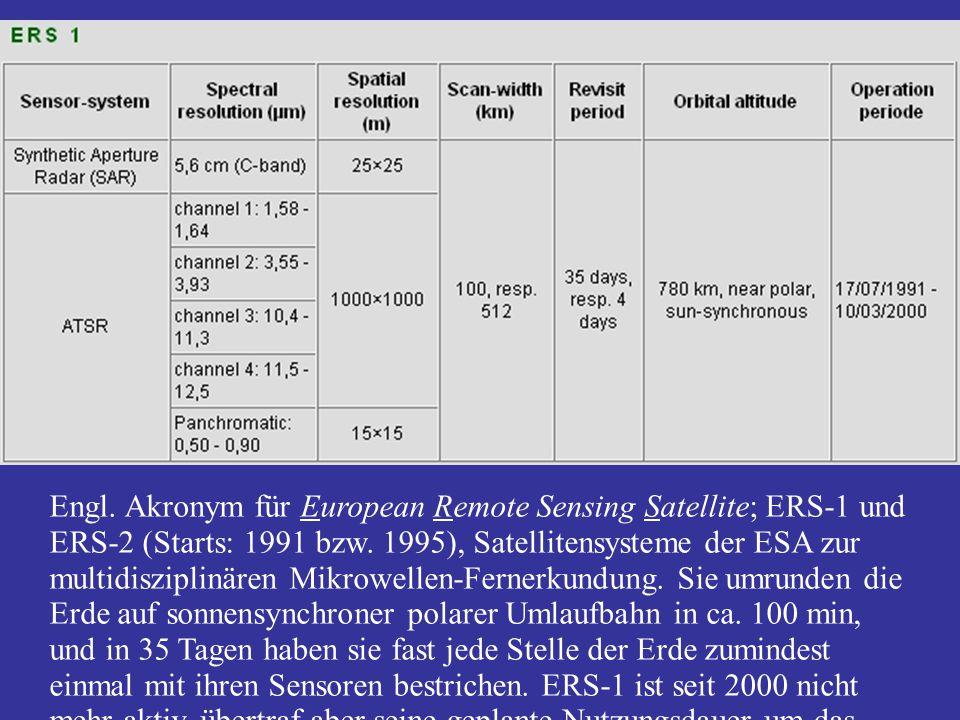 Engl. Akronym für European Remote Sensing Satellite; ERS-1 und ERS-2 (Starts: 1991 bzw. 1995), Satellitensysteme der ESA zur multidisziplinären Mikrow