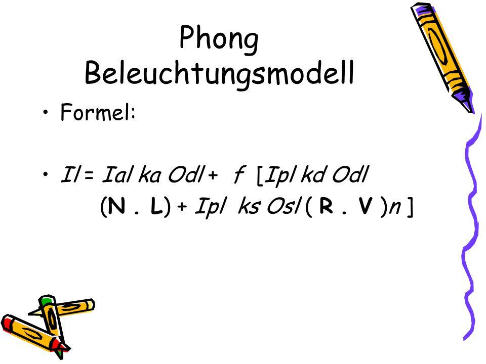 Phong Beleuchtungsmodell Formel: Il = Ial ka Odl + f [Ipl kd Odl (N. L) + Ipl ks Osl ( R. V )n ]