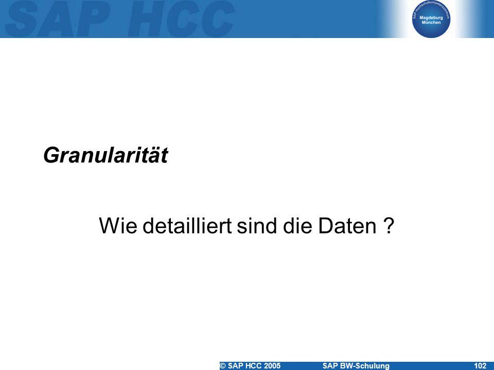 © SAP HCC 2005SAP BW-Schulung102 Granularität Wie detailliert sind die Daten ?