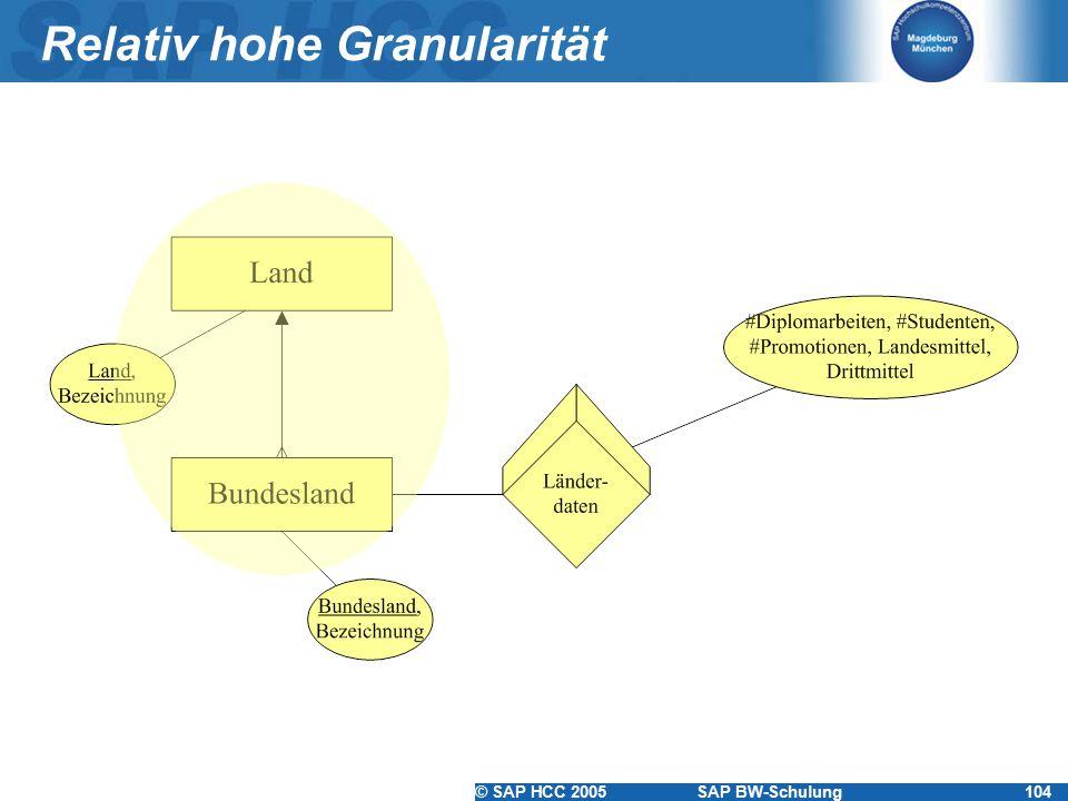 © SAP HCC 2005SAP BW-Schulung104 Relativ hohe Granularität