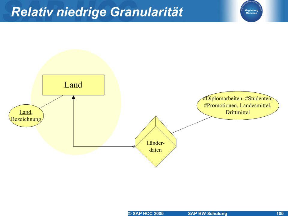 © SAP HCC 2005SAP BW-Schulung105 Relativ niedrige Granularität