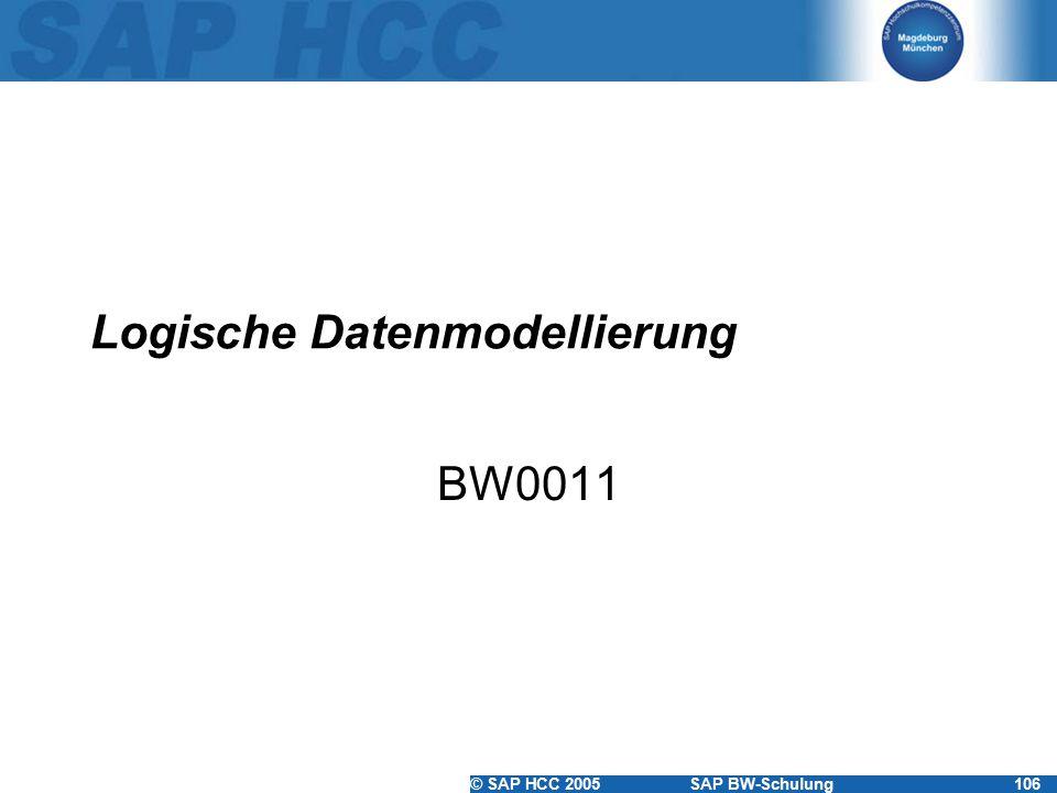 © SAP HCC 2005SAP BW-Schulung106 Logische Datenmodellierung BW0011