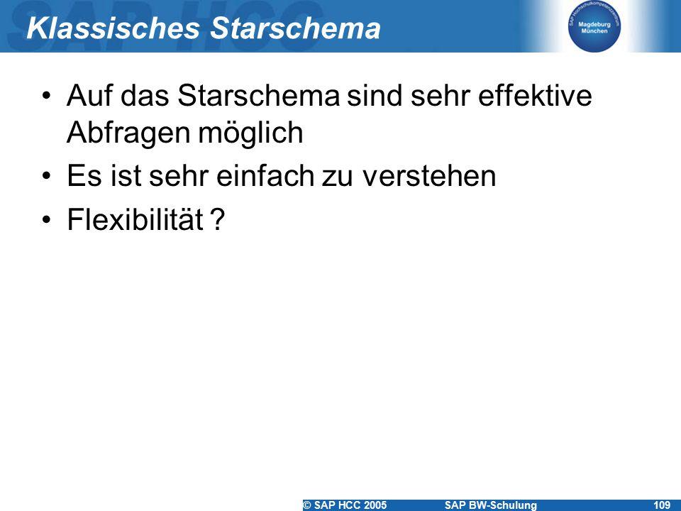 © SAP HCC 2005SAP BW-Schulung109 Klassisches Starschema Auf das Starschema sind sehr effektive Abfragen möglich Es ist sehr einfach zu verstehen Flexi