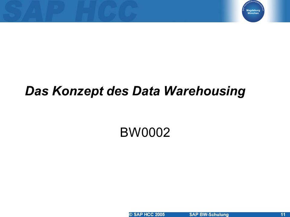 © SAP HCC 2005SAP BW-Schulung11 Das Konzept des Data Warehousing BW0002