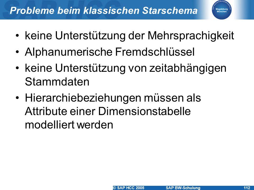 © SAP HCC 2005SAP BW-Schulung112 Probleme beim klassischen Starschema keine Unterstützung der Mehrsprachigkeit Alphanumerische Fremdschlüssel keine Unterstützung von zeitabhängigen Stammdaten Hierarchiebeziehungen müssen als Attribute einer Dimensionstabelle modelliert werden