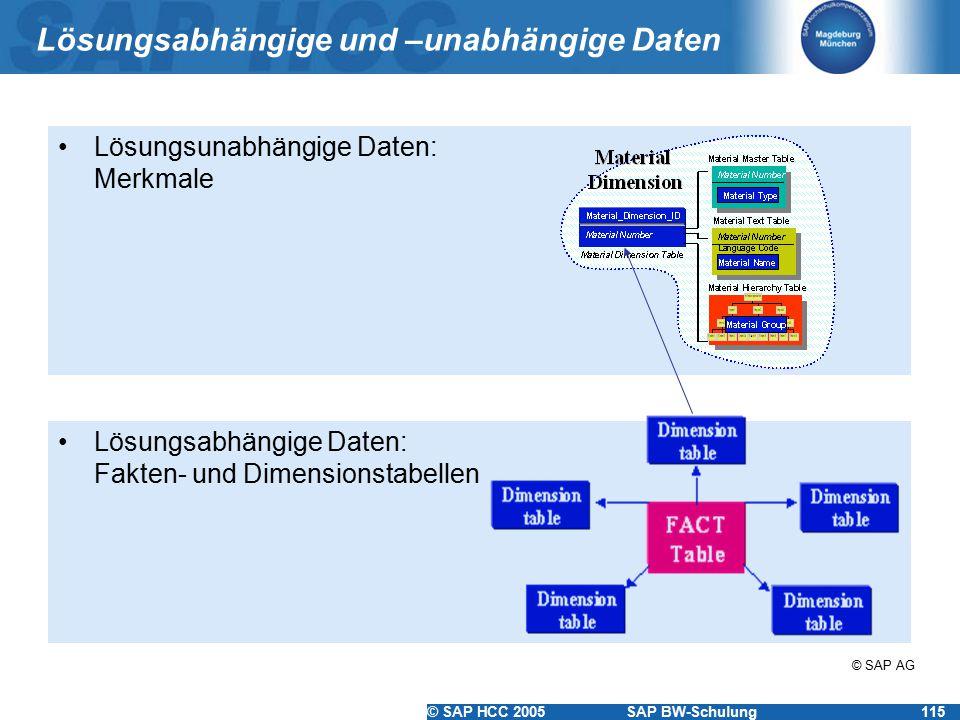© SAP HCC 2005SAP BW-Schulung115 Lösungsabhängige Daten: Fakten- und Dimensionstabellen Lösungsabhängige und –unabhängige Daten Lösungsunabhängige Dat