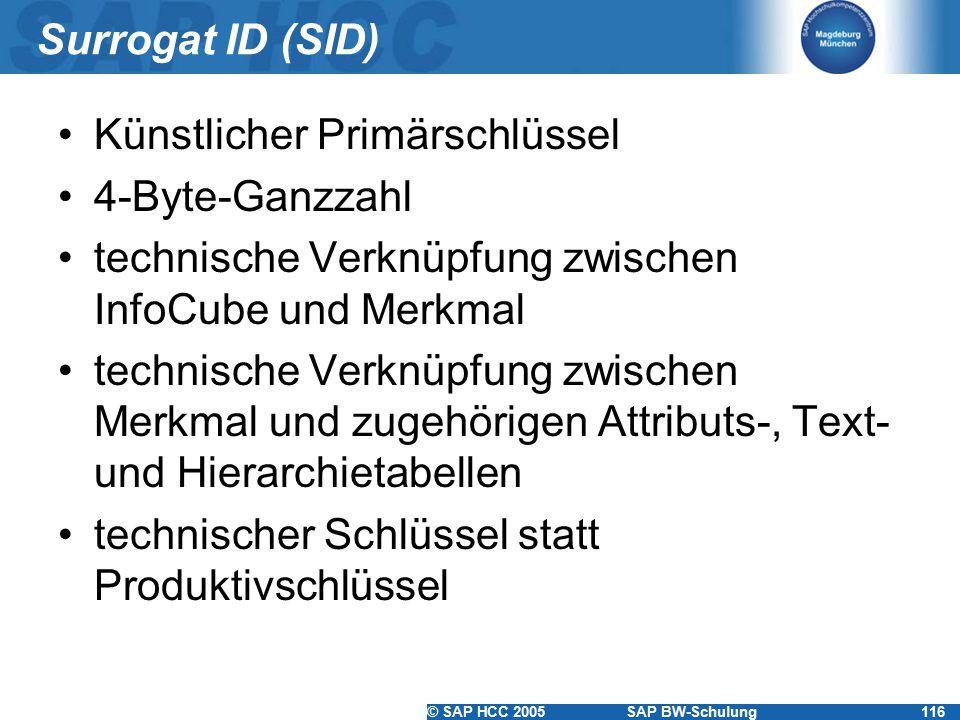 © SAP HCC 2005SAP BW-Schulung116 Surrogat ID (SID) Künstlicher Primärschlüssel 4-Byte-Ganzzahl technische Verknüpfung zwischen InfoCube und Merkmal technische Verknüpfung zwischen Merkmal und zugehörigen Attributs-, Text- und Hierarchietabellen technischer Schlüssel statt Produktivschlüssel