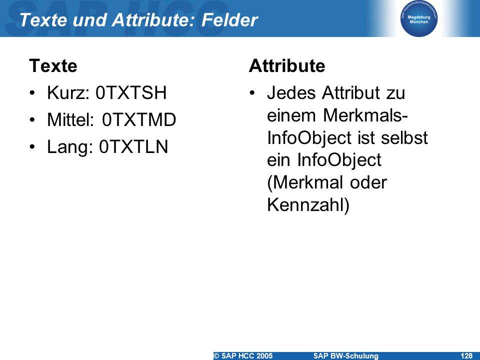 © SAP HCC 2005SAP BW-Schulung128 Texte und Attribute: Felder Texte Kurz: 0TXTSH Mittel: 0TXTMD Lang: 0TXTLN Attribute Jedes Attribut zu einem Merkmals