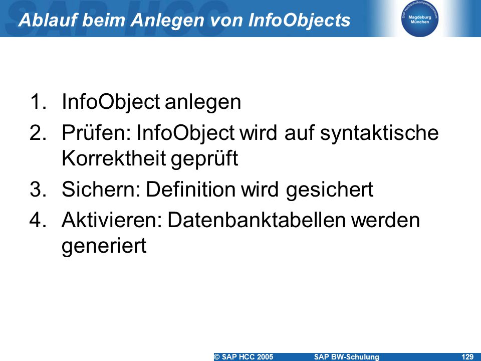 © SAP HCC 2005SAP BW-Schulung129 Ablauf beim Anlegen von InfoObjects 1.InfoObject anlegen 2.Prüfen: InfoObject wird auf syntaktische Korrektheit geprü