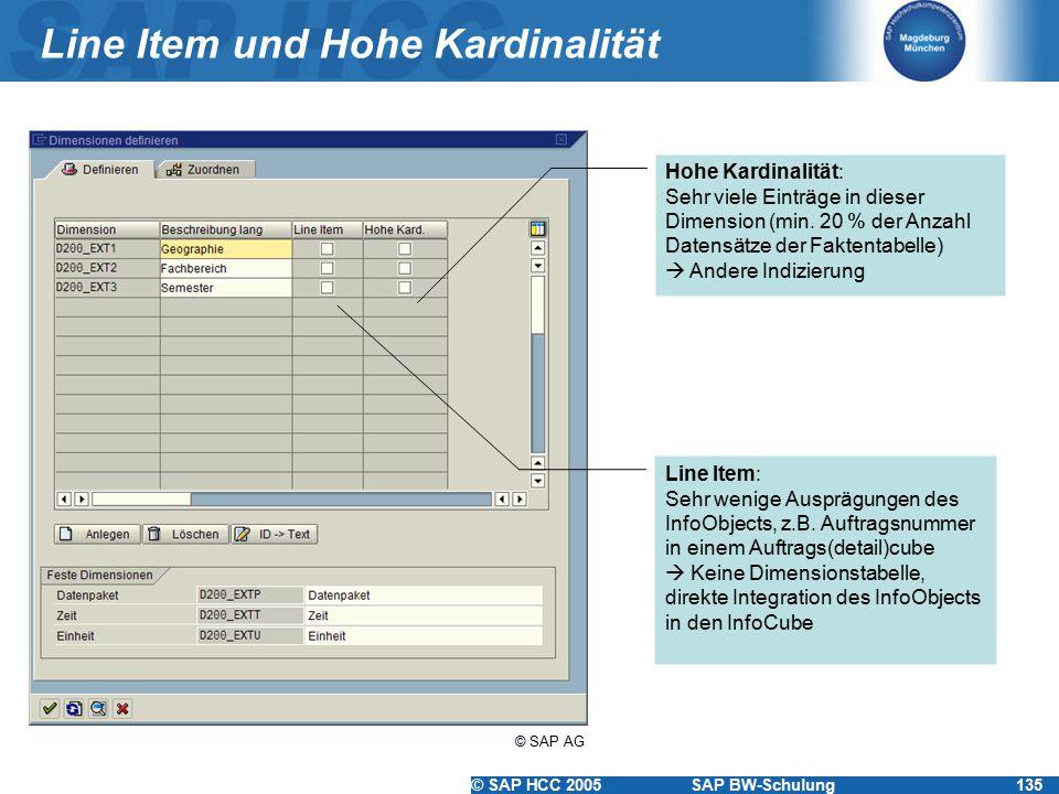 © SAP HCC 2005SAP BW-Schulung135 Line Item und Hohe Kardinalität Line Item: Sehr wenige Ausprägungen des InfoObjects, z.B. Auftragsnummer in einem Auf