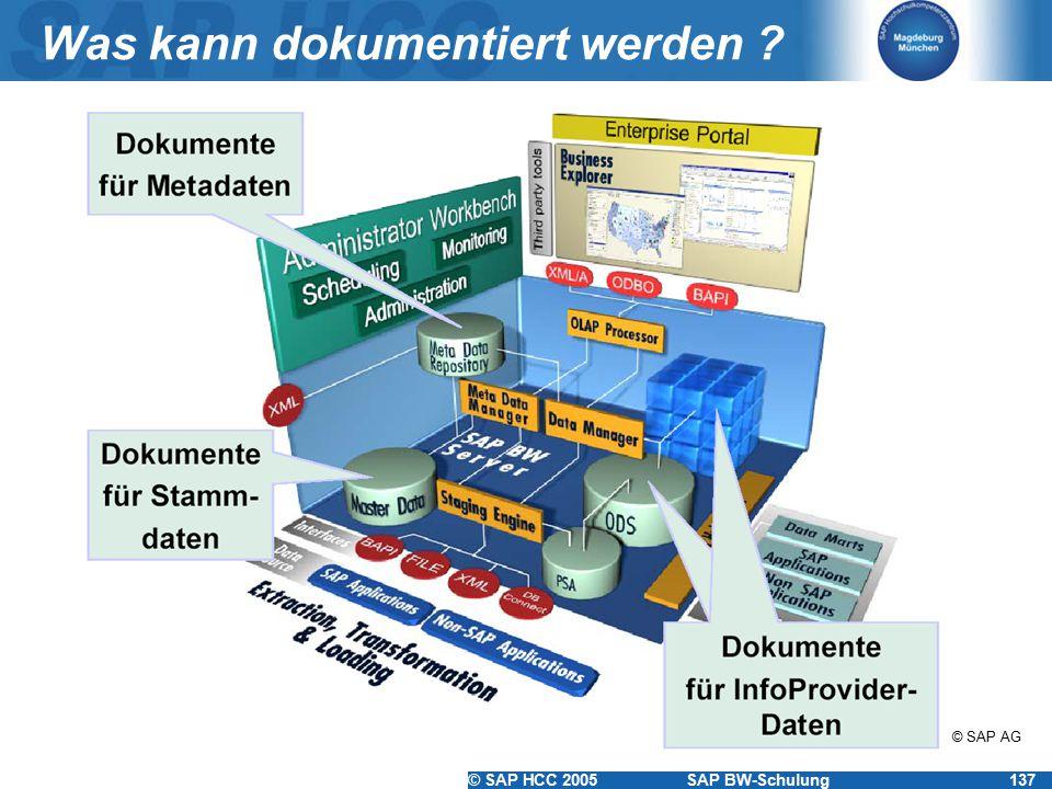 © SAP HCC 2005SAP BW-Schulung137 Was kann dokumentiert werden ? © SAP AG