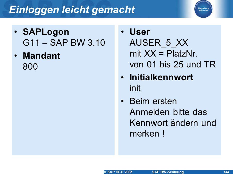 © SAP HCC 2005SAP BW-Schulung144 Einloggen leicht gemacht SAPLogon G11 – SAP BW 3.10 Mandant 800 User AUSER_5_XX mit XX = PlatzNr. von 01 bis 25 und T