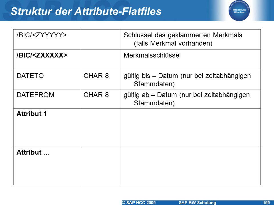 © SAP HCC 2005SAP BW-Schulung155 Struktur der Attribute-Flatfiles /BIC/ Schlüssel des geklammerten Merkmals (falls Merkmal vorhanden) /BIC/ Merkmalssc
