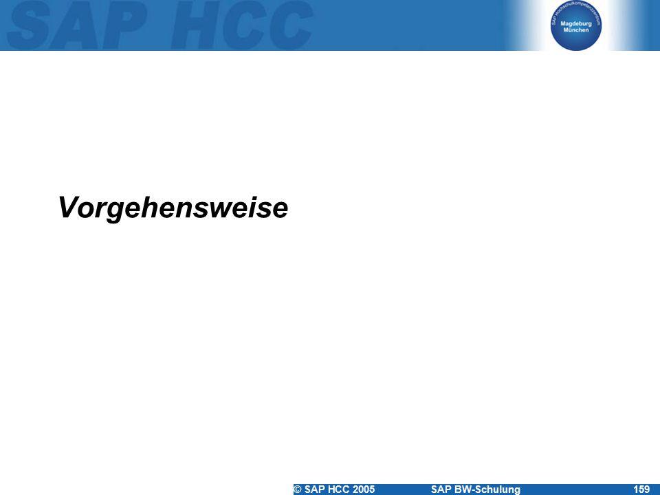 © SAP HCC 2005SAP BW-Schulung159 Vorgehensweise