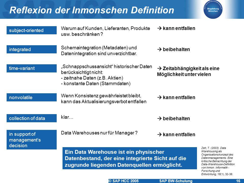 © SAP HCC 2005SAP BW-Schulung16 Reflexion der Inmonschen Definition subject-oriented Warum auf Kunden, Lieferanten, Produkte usw. beschränken ? integr