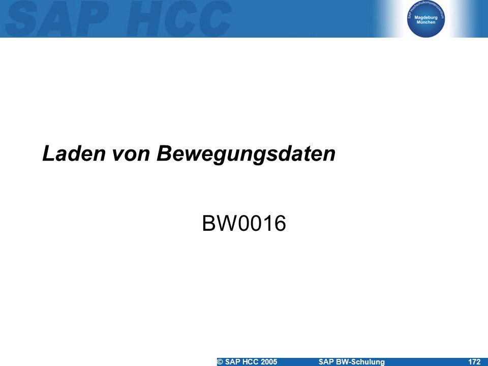 © SAP HCC 2005SAP BW-Schulung172 Laden von Bewegungsdaten BW0016