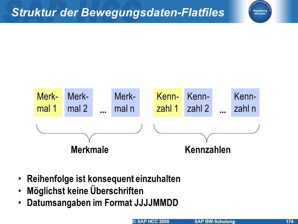 © SAP HCC 2005SAP BW-Schulung174 Struktur der Bewegungsdaten-Flatfiles Merk- mal 1 Merk- mal 2 Merk- mal n... Kenn- zahl 1 Kenn- zahl 2 Kenn- zahl n..