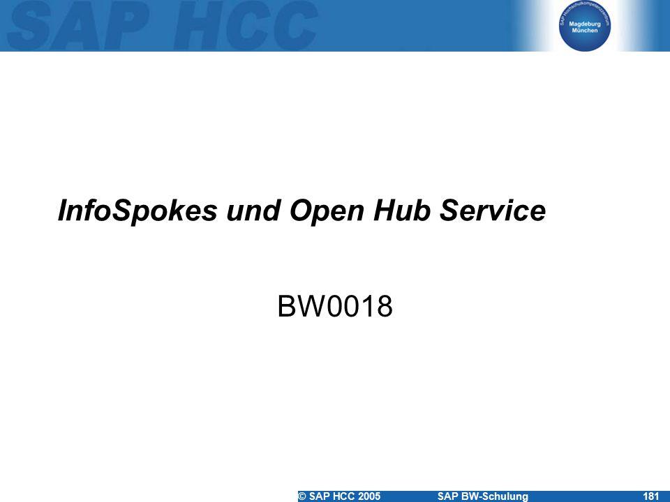 © SAP HCC 2005SAP BW-Schulung181 InfoSpokes und Open Hub Service BW0018