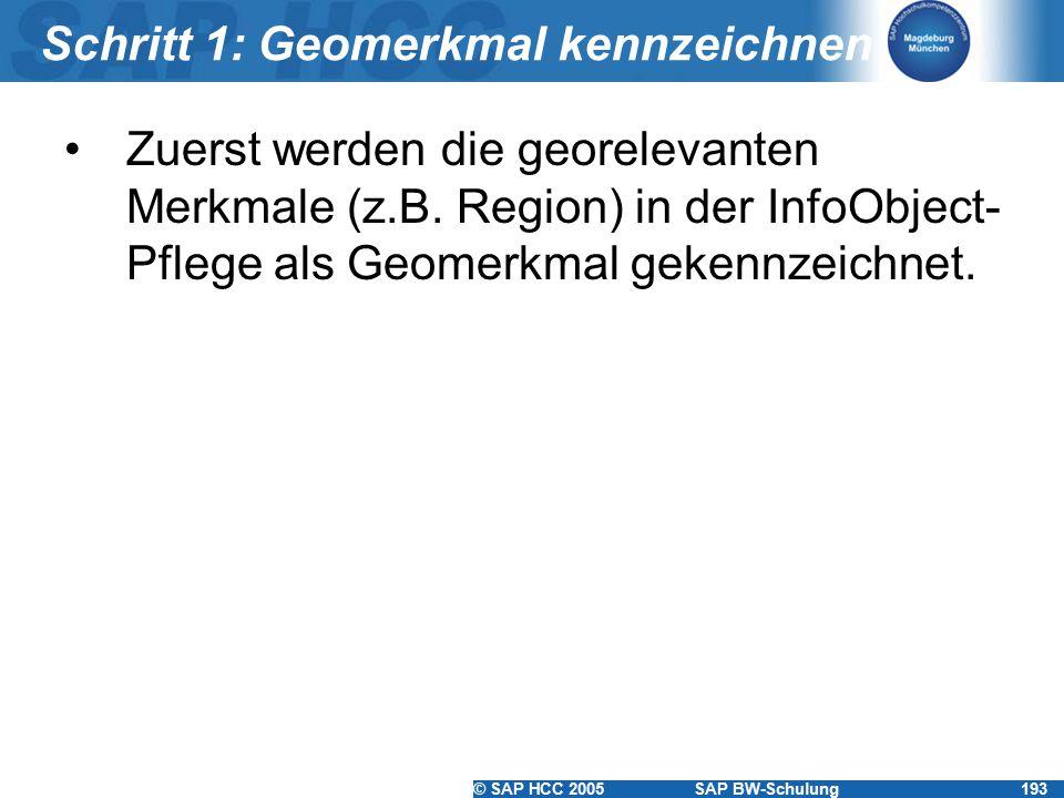© SAP HCC 2005SAP BW-Schulung193 Schritt 1: Geomerkmal kennzeichnen Zuerst werden die georelevanten Merkmale (z.B. Region) in der InfoObject- Pflege a