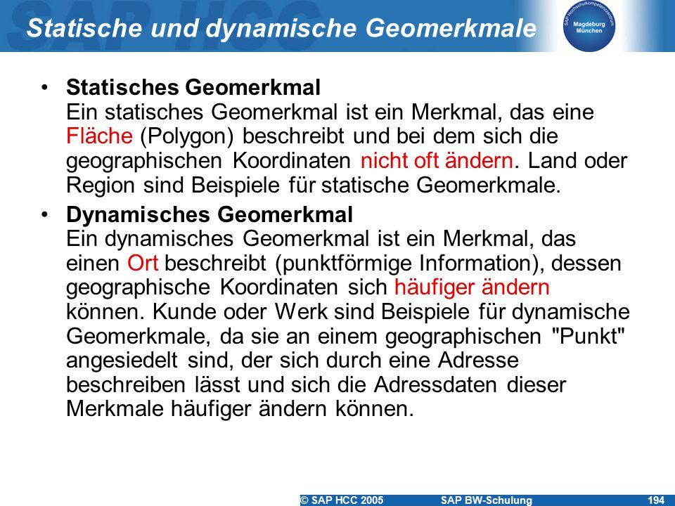 © SAP HCC 2005SAP BW-Schulung194 Statische und dynamische Geomerkmale Statisches Geomerkmal Ein statisches Geomerkmal ist ein Merkmal, das eine Fläche