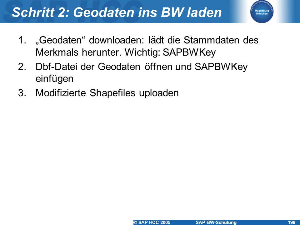 """© SAP HCC 2005SAP BW-Schulung196 Schritt 2: Geodaten ins BW laden 1.""""Geodaten"""" downloaden: lädt die Stammdaten des Merkmals herunter. Wichtig: SAPBWKe"""