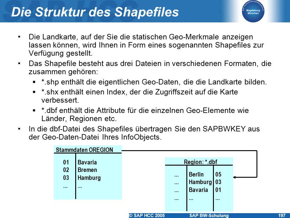 © SAP HCC 2005SAP BW-Schulung197 Die Struktur des Shapefiles Die Landkarte, auf der Sie die statischen Geo-Merkmale anzeigen lassen können, wird Ihnen in Form eines sogenannten Shapefiles zur Verfügung gestellt.