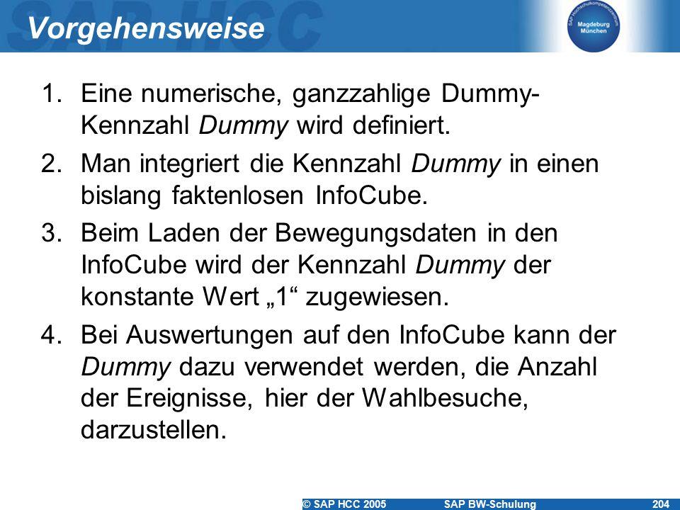 © SAP HCC 2005SAP BW-Schulung204 Vorgehensweise 1.Eine numerische, ganzzahlige Dummy- Kennzahl Dummy wird definiert. 2.Man integriert die Kennzahl Dum