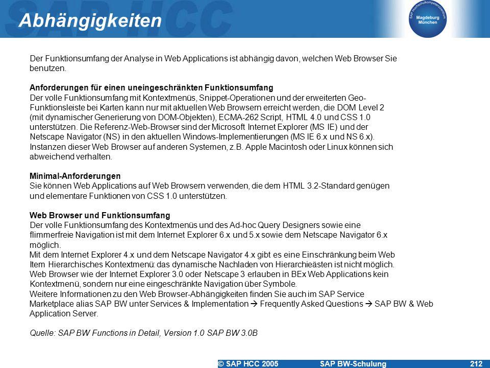 © SAP HCC 2005SAP BW-Schulung212 Abhängigkeiten Der Funktionsumfang der Analyse in Web Applications ist abhängig davon, welchen Web Browser Sie benutz