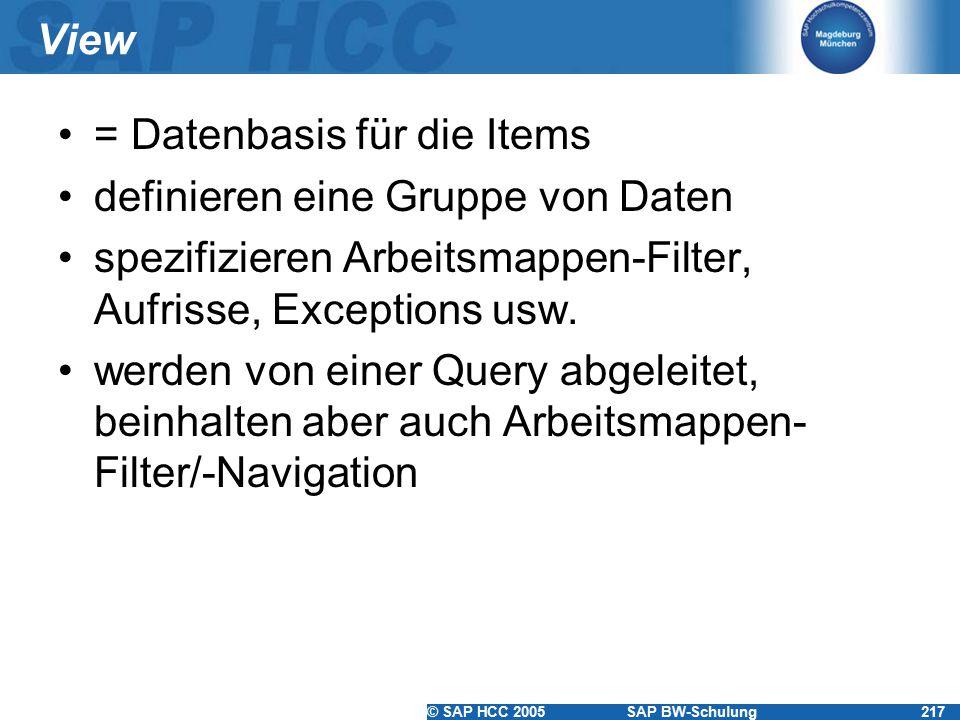 © SAP HCC 2005SAP BW-Schulung217 View = Datenbasis für die Items definieren eine Gruppe von Daten spezifizieren Arbeitsmappen-Filter, Aufrisse, Exceptions usw.
