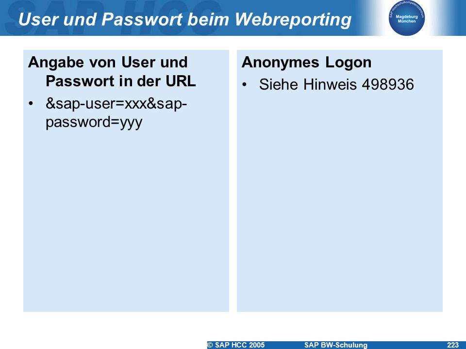 © SAP HCC 2005SAP BW-Schulung223 User und Passwort beim Webreporting Angabe von User und Passwort in der URL &sap-user=xxx&sap- password=yyy Anonymes