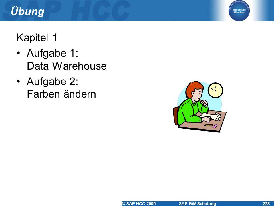© SAP HCC 2005SAP BW-Schulung228 Übung Kapitel 1 Aufgabe 1: Data Warehouse Aufgabe 2: Farben ändern